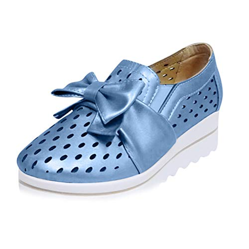 Londony Natural Walking Flat Loafer Vintage Flat Boat Shoes&Casual Comfort Slip On&Lightweight Beach or Travel Shoe Blue
