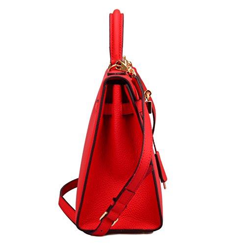 Hobo Red 32cm Ainifeel Purse Shoulder Satchel Women's Bag Handbags Padlock 1w6Aw0Sq