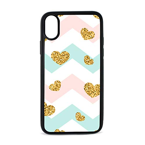 Case for iPhone Heart Love Geometric Creative Art Digital Print TPU Pc Pearl Plate Cover Phone Hard Case Cell Phone Accessories Compatible with Protective Apple Iphonex/xsCase 5.8 Inch