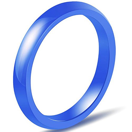 Jude Jewelers 3mm Plain Simple Ceramic Ring Wedding Band Classical Anniversary Stackable (Blue, 6)