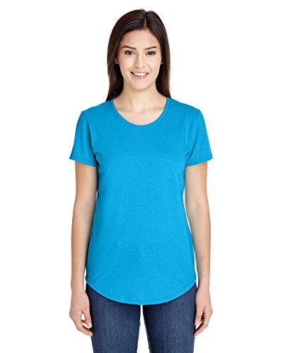 Anvil Ladies Triblend Scoop Neck T-Shirt, Heather Caribbean Blue, Large