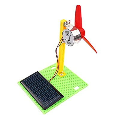 Maserfaliw Solar Fan Model DIY Wooden Solar Fan Model Building Assembly Kids Toys Early Science Education, Home, Office, School, Professional.: Home & Kitchen