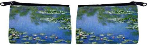 Rikki Knight Claude Monet Art Water Lilies Design Scuba Foam Coin Purse