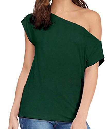 Women's Casual Off Shoulder Lose Sexy Short Sleeveless Blouse Tops T Shirt Ink Green S