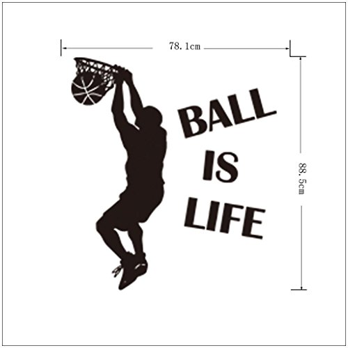 fan products of Wall Sticker, Hatop Ball Is Life Version 2 Basketball Court Wall Decal Vinyl Art Sticker Home Decor