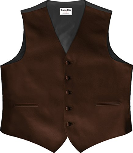 Chocolate Brown Satin 5 Button Full Back Vest