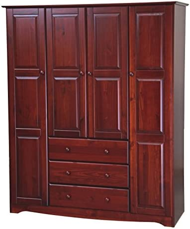 Palace Imports 100 Solid Wood Family Wardrobe Armoire Closet 5962, Mahogany, 60 W x 72 H x 21 D. 3 Clothing Rods Included. NO Shelves Included. Optional Shelves Sold Separately