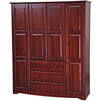 NEW! 100% Solid Wood Family Wardrobe/Armoire/Closet 5962 by Palace Imports, Mahogany, 60 W x 72 H x 21 D. 3 Clothing Rods Included. Optional Small And Large Shelves Sold Separately.