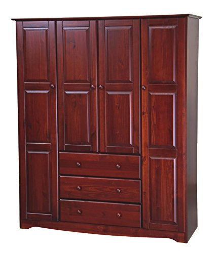Palace Imports 100 Solid Wood Family Wardrobe Armoire Closet 5962, Mahogany, 60 W x 72 H x 21 D. 3 Clothing Rods Included. NO Shelves Included. Optional Small and Large Shelves Sold Separately.