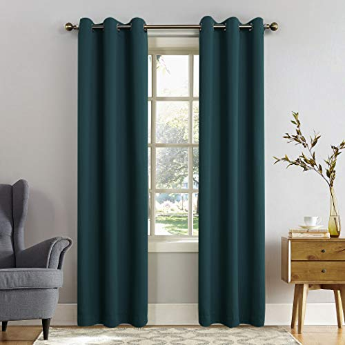 "Sun Zero Easton Blackout Energy Efficient Grommet Curtain Panel, 40"" x 95"", Teal"