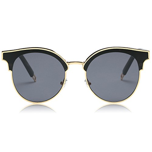 SojoS Fashion Designer Cateye Women Sunglasses Oversized Shades Flat Lens SJ1055 With Gold Frame/Grey Lens