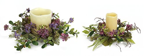Melrose International Purple Hydrangea Candle Rings, 11-Inch/14-Inch, Set of - Hydrangea Ring Candle