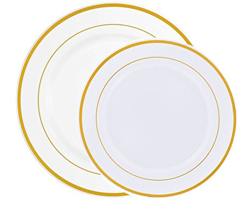 60 Heavyweight White with Gold Rim Plastic Plates: 30 Dinner Plates and 30 Salad Plates