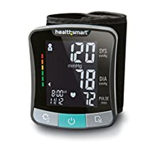 HealthSmart Premium Talking Automatic Digital Wrist Blood Pressure Monitor, Two Person 120 Reading Memory, Black and Gray