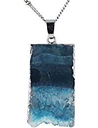 Irregular Agate Pendant Gemstone Crystal Wire Natural Stone Necklace