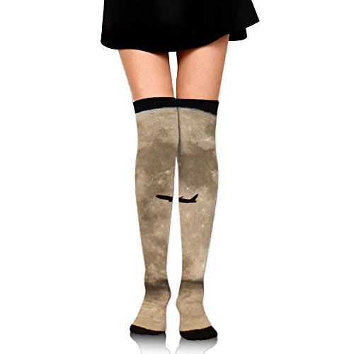 Spacecraft Fly Past The Moon Casual Crew Top Socks,Tube Over Knee Nursing Compression Long Socks,3D Printed Sports For -