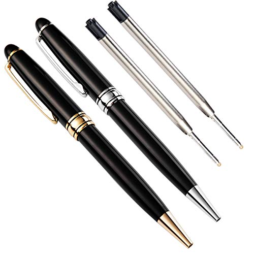 PASISIBICK Pen Gift Set for Men,Stainless Steel Fancy pens Twist to Open Classic Design,Gold and Silver Executive Business Rollerball Pens with 2 Medium Black Ink Refills
