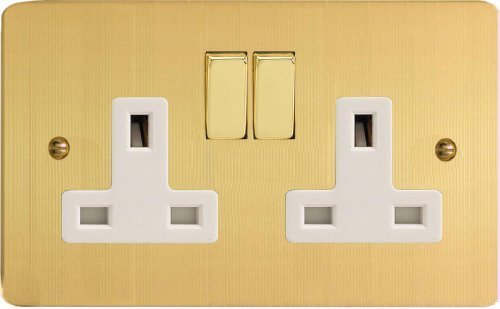 XFB5DW Varilight Ultra Flat Plate Brushed Brass 2 Gang 13A Switched Plug Socket White Insert by Varilight