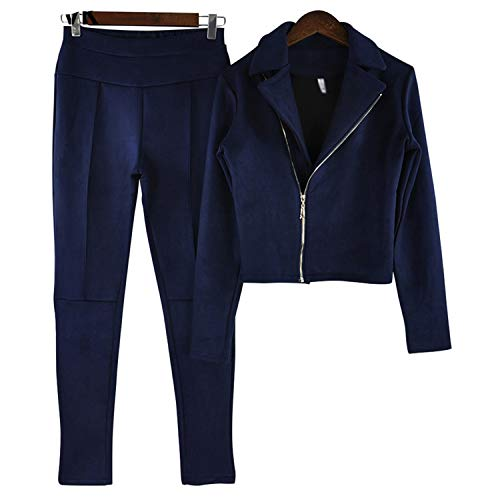 E Pelle Blue Hip Open Giacche Set Cappotti Navy Gonna Autunno Skirt Fork Due Tuta Donna Scamosciata Pezzi Pacchetto 2 Jacket Zipper Primavera Di Bq45HPw