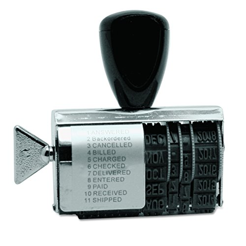 Identity Group T2754 Rubber 11-Message Dial-A-Phrase Stamp, Dater, Conventional, 2 x 3/8 ()