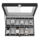 SONGMICS 12-Slot Watch Box, Watch Holder with Glass Lid, Watch Case with Removable Watch Pillow, Velvet Lining, Metal Clasp, Watch Display, Black Synthetic Leather, Gray Lining UJWB12BK