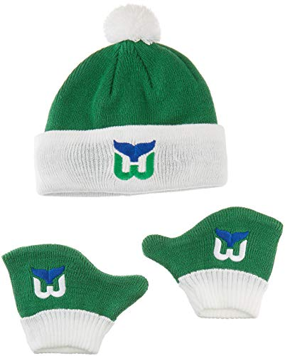 OTS NHL Hartford Whalers Pow Knit Cap & Mittens Set, Kelly, - Game Whalers Hartford