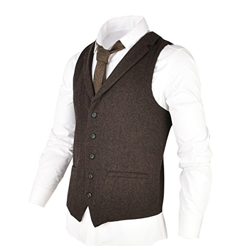 - VOBOOM Mens Herringbone Tailored Collar Waistcoat Fullback Wool Tweed Suit Vest (Coffee, M)