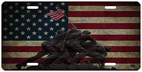 (Rogue River Tactical WWII Iwo Jima National Memorial USA Flag License Plate Novelty Auto Car Tag Vanity Gift American Patriotic US)