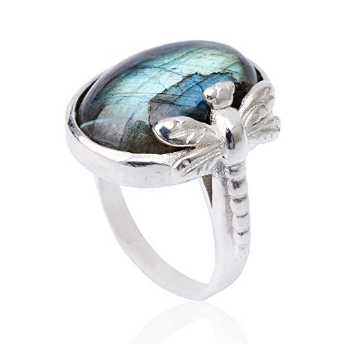 Lotus Fun S925 Sterling Silver Rings Vintage Dragonfly Open Ring with Natural Stone Handmade Jewelry Unique Gift for Women and Girls (Labradorite) (Sterling Silver Dragonfly Ring)