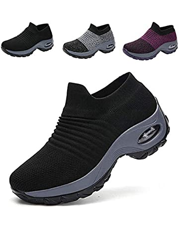 9f07e1a5ffa Mesh Trainers Women Slip On Walking Shoes Air Cushion Knitted Sock Trainers  Women Casual Shoes Lady