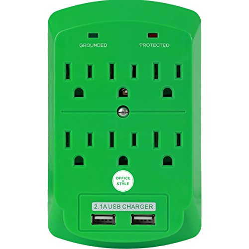 Surge Protector, Electronics Charging Station, 6 Outlet 2 USB Port Wall Adapter with Safety Indicator Lights -Green- by Office + Style