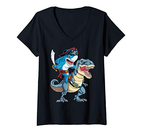 Womens Shark Pirate Dinosaur T rex Funny Jawsome Men Women Gifts V-Neck T-Shirt -