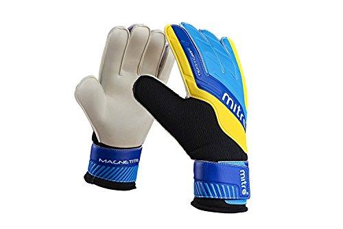 Mitre Magnetite Soccer Goalie Gloves, Black/Cyan/Yellow, Size 11