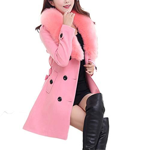 Grande Col Automne HANMAX Longue en Longue Fourrure Hiver Manteau Femme Manches Taille Ceinture de Rose Laine avec xqvqAw6p0
