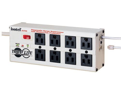 Tripp Lite Isobar 8 Outlet Surge Protector Power Strip, 12ft. Cord, Right Angle Plug, 3840 Joules, Diagnostic LEDs, Tel/Fax/Modem, Metal, (ISOTEL8 Ultra) ()