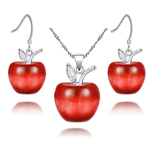 Uloveido White Gold Plated Candy Red Apple Pendant Necklace and Earrings Jewelry Set for Women Teen Girls Red Crystal Apple Pendant Necklace and Dangle Earrings Gift YL007-SET