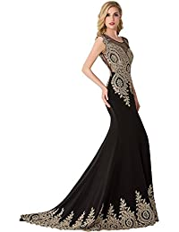 Trumpet Long Evening Dress Lace Beads Cap Sleeve Party Prom Gowns