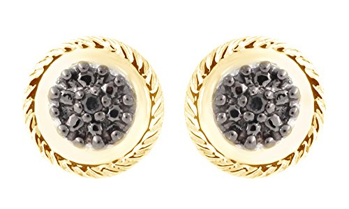 - Black Natural Diamond Round Cluster Frame Stud Earrings In 14K Yellow Gold Over Sterling Silver