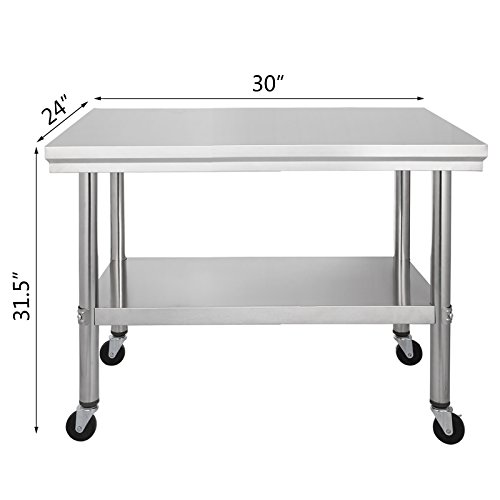 Happybuy NSF stainless Steel work table with wheels 12x24 Prep table with casters Heavy duty work table for commercial kitchen Restaurant Business Garage sliver (30