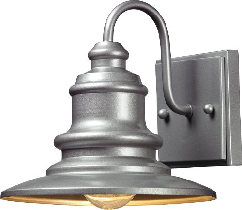 Elk 47020/1 8 by 8-Inch Marina 1-Light Outdoor Wall Sconce, Matte Silver Finish