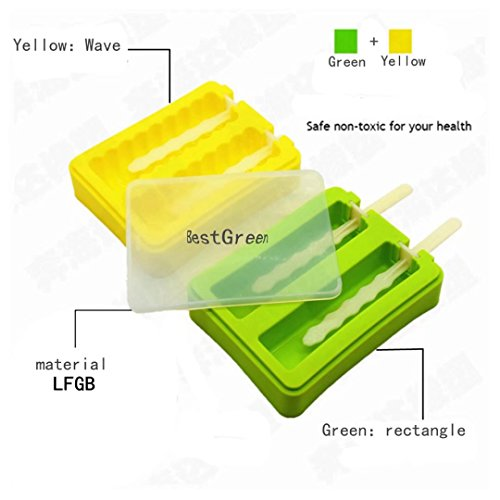 BestGreen- 2 Pack(Yellow,Green)-Silicone Popsicle Molds Popsicle Maker Ice Pop Molds-Creative Silica Ice Cushion SiliconeSilicone Ice Cream Mold