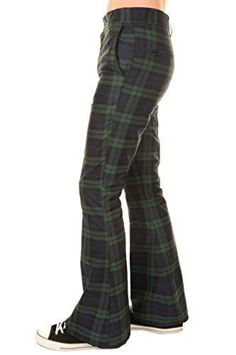 Run & Fly Mens 60s 70s Vintage Blackwatch Tartan Plaid Bell Bottom Trousers 32 Long