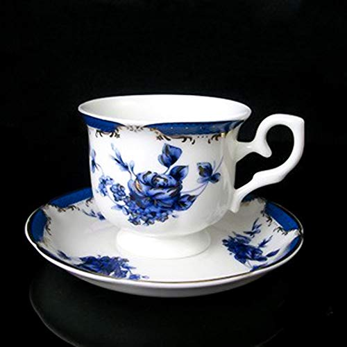 ACOOME Tea Cup and Saucer Set-5.5oz Bone China Blue Rose Teacup Fine Dining and Table Decor