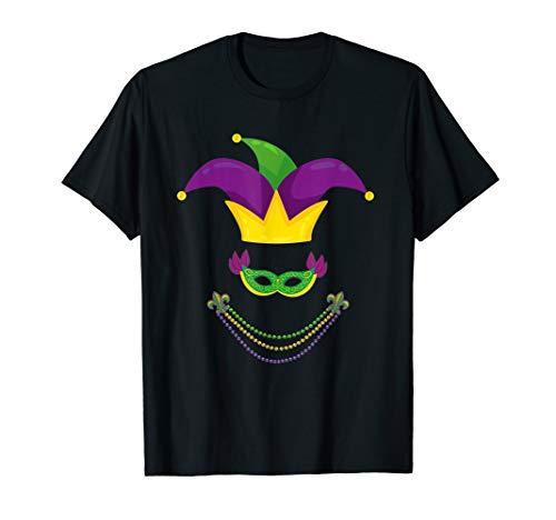 Funny shirt mardi gras Jester Hat beads mask