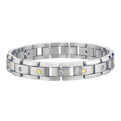 Mens Diamond Bracelet in Stainless Steel (0.15cts, H-I I3) by AX Jewelry