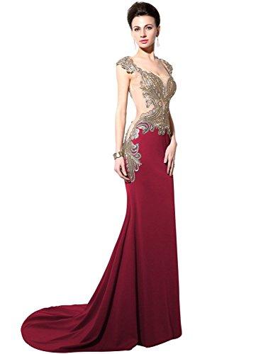 Sarahbridal Women's Lycra Mermaid Rhinestone Evening Dress Prom Gown US8 Burgundy