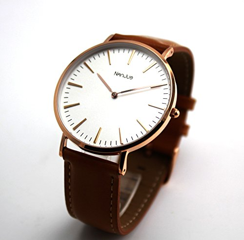 NanJue 40mm Rose Gold Watch,Simple Watches with Elegant Brown Watch Band and White Face for Women-30m Waterproof