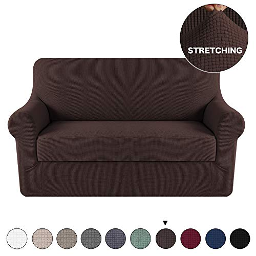 2-Piece Sofa Slipcover Stretch Couch Cover Furniture Protector for Loveseat Furniture Cover, Brown Sofa Cover 2 Piece with Separate Cushion Cover Stylish Jacquard Protector (Loveseat, Brown)