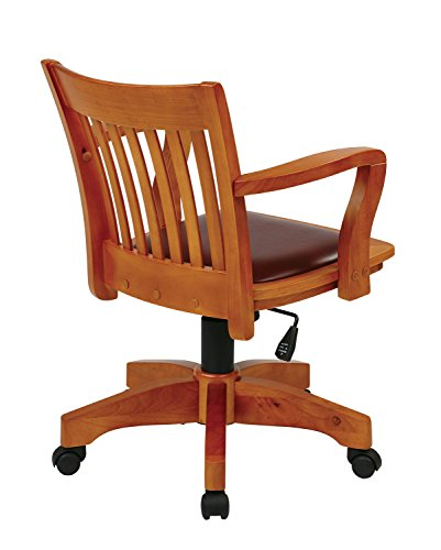 Office Star Deluxe Wood Bankers Desk Chair With Brown
