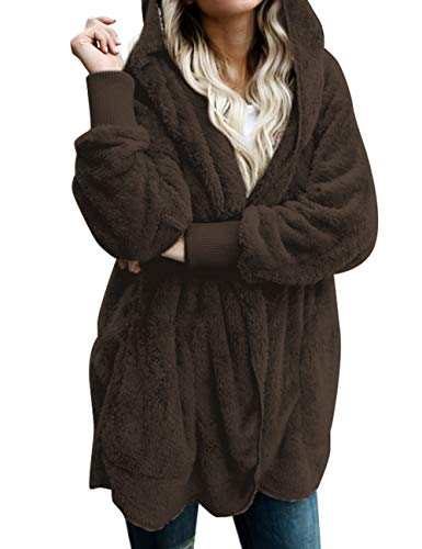 ACKKIA Women's Casual Draped Open Front Oversized Pockets Hooded Coat Cardigan Brown Size X-Large (US 16-US 18) ()